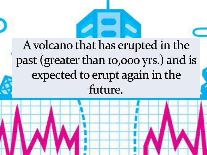 A volcano that has erupted in the past (greater than 10,000 yrs.) and is expected to erupt again in the future.
