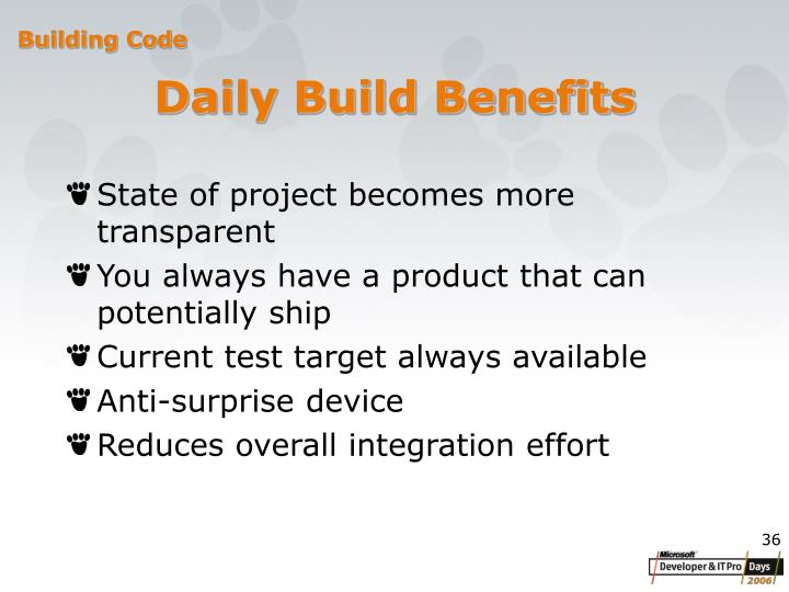 Daily Build Benefits