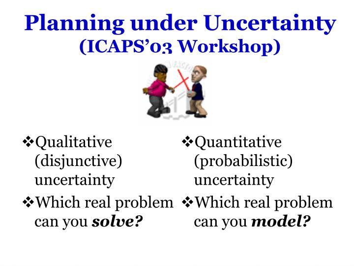 Planning under uncertainty icaps 03 workshop