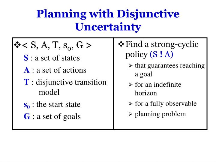 Planning with Disjunctive Uncertainty