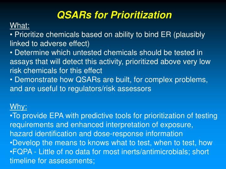 QSARs for Prioritization
