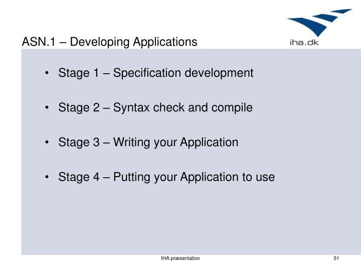 ASN.1 – Developing Applications