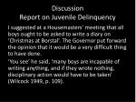 discussion report on juvenile delinquency