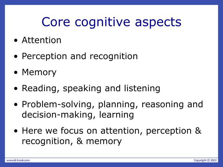 Core cognitive aspects