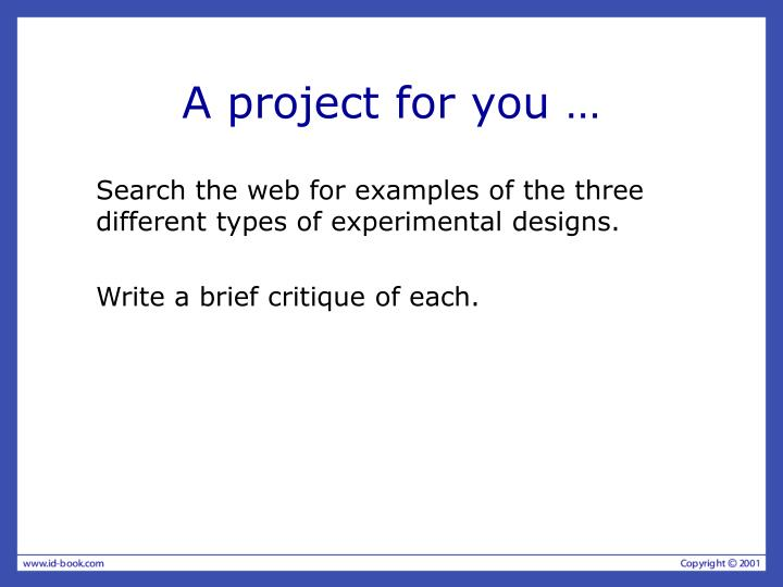 A project for you …