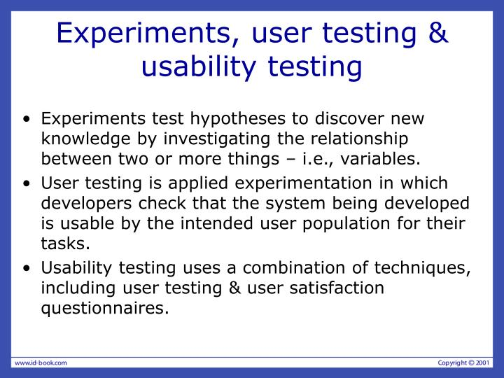 Experiments user testing usability testing