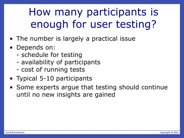 How many participants is enough for user testing?