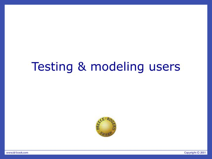 Testing modeling users