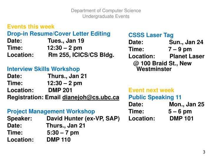 Department of computer science undergraduate events