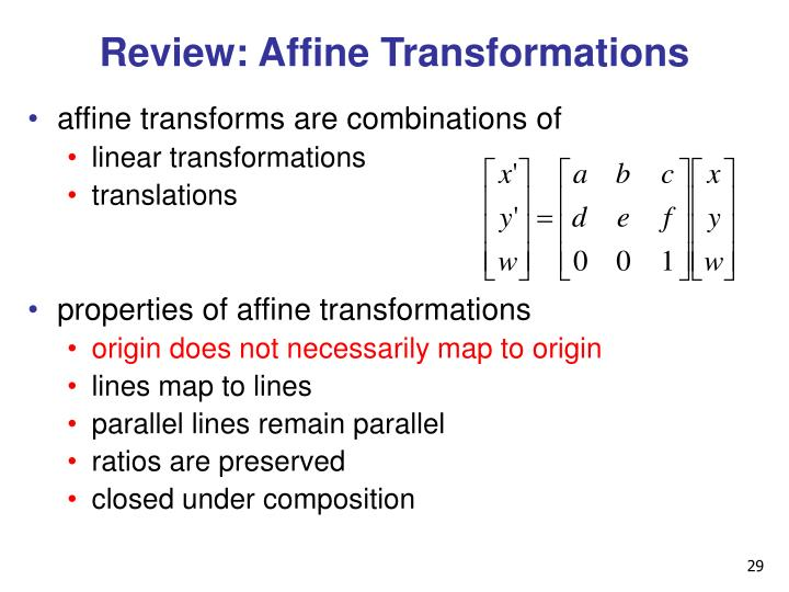 Review: Affine Transformations