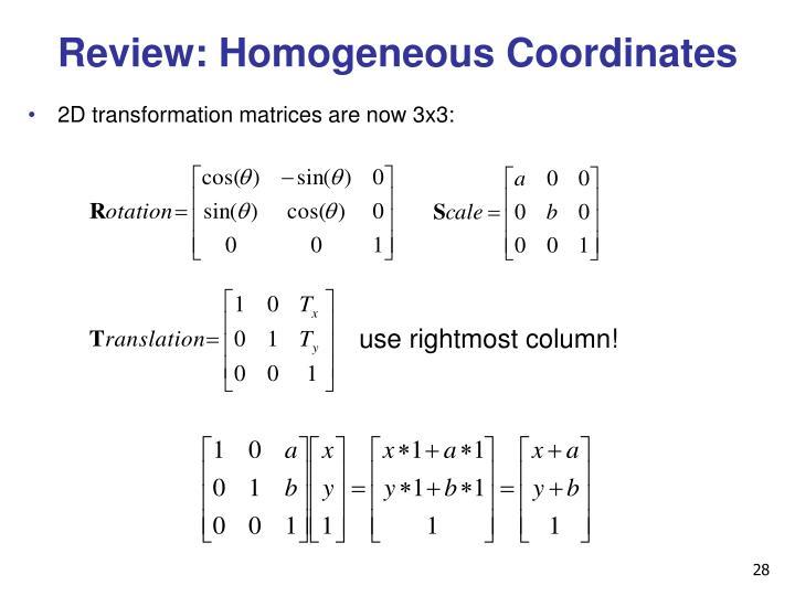 Review: Homogeneous Coordinates