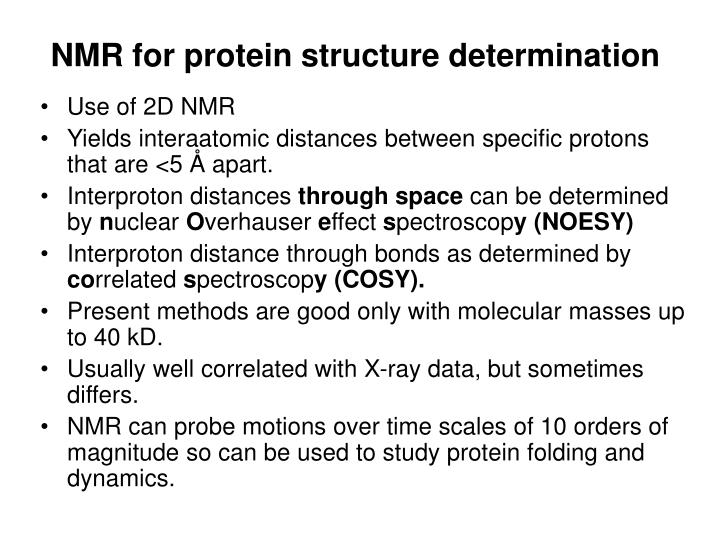 NMR for protein structure determination
