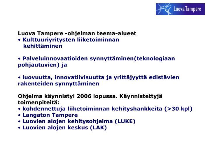 Luova Tampere -ohjelman teema-alueet