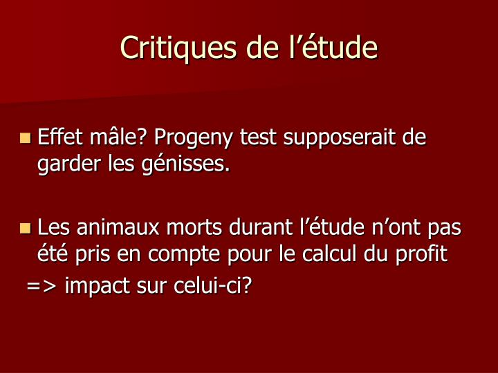 Critiques de l'étude