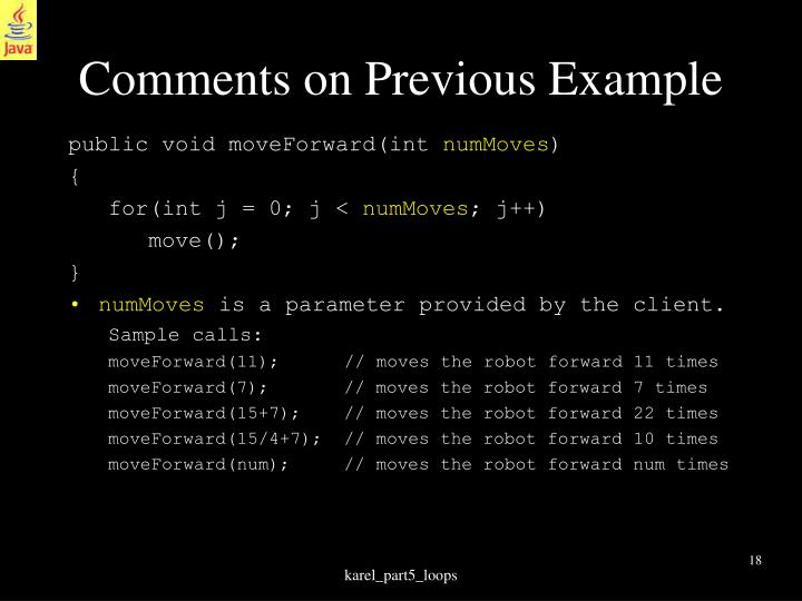 Comments on Previous Example