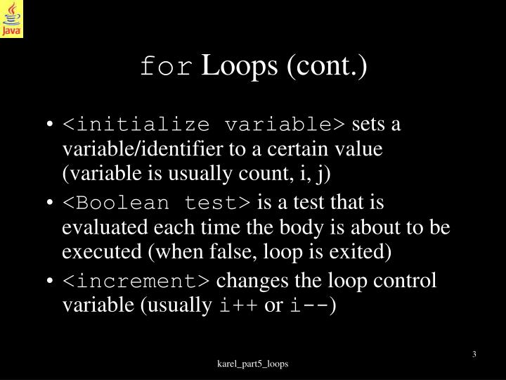 For loops cont