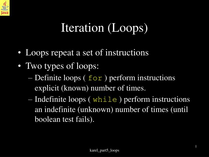 Iteration loops