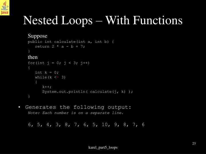 Nested Loops – With Functions
