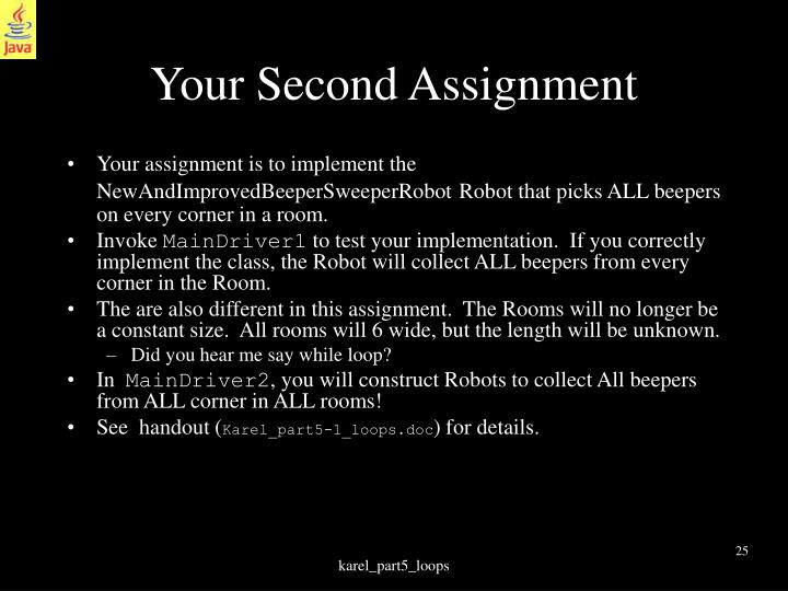 Your Second Assignment