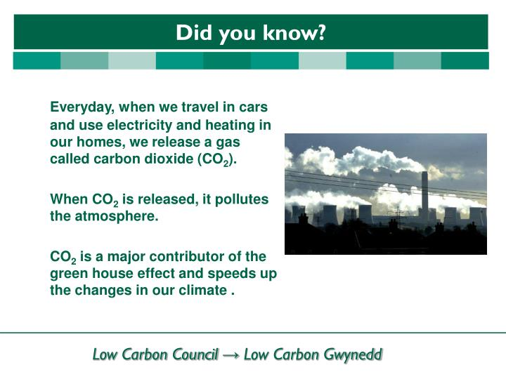 Everyday, when we travel in cars and use electricity and heating in our homes, we release a gas called carbon dioxide (CO