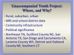unaccompanied youth project where and why