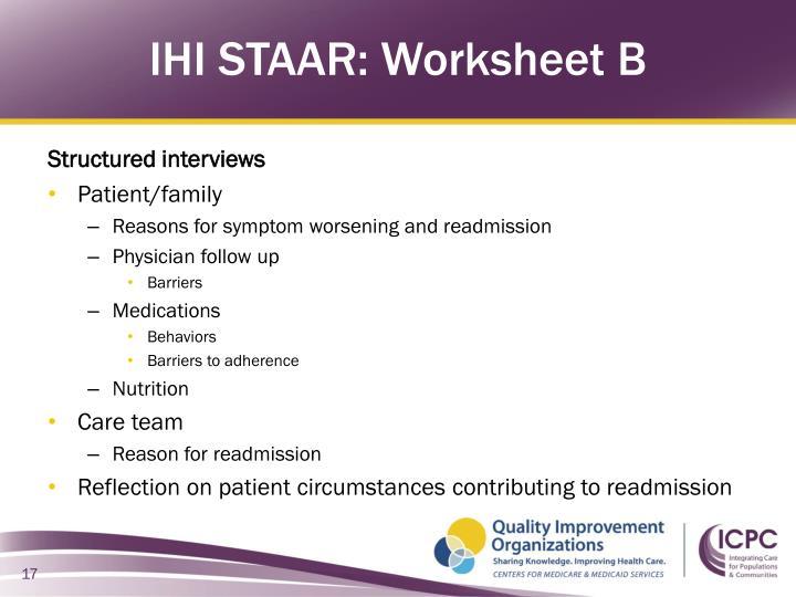 IHI STAAR: Worksheet B