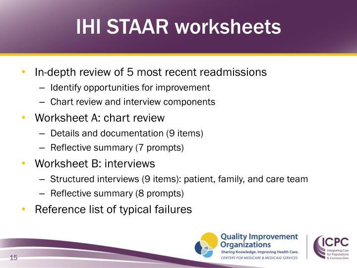 IHI STAAR worksheets