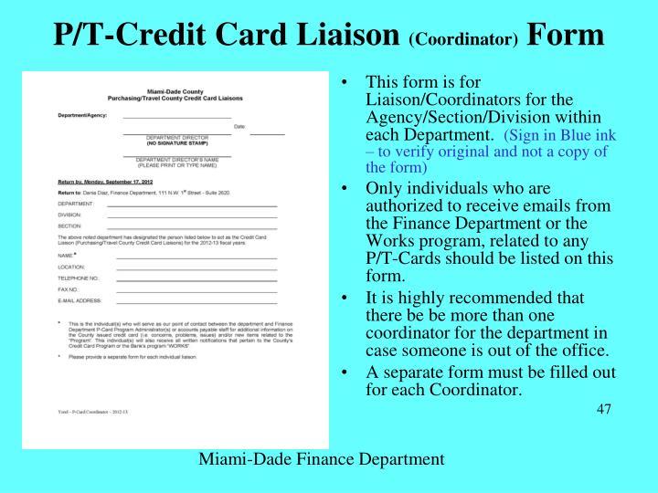 P/T-Credit Card Liaison
