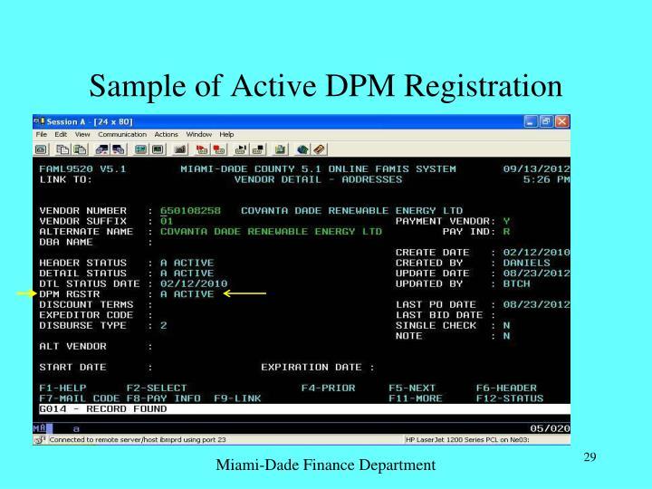 Sample of Active DPM Registration