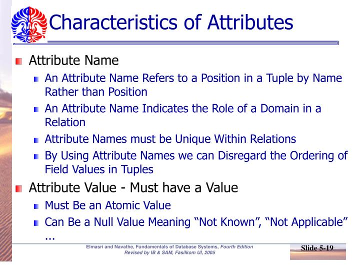 Characteristics of Attributes