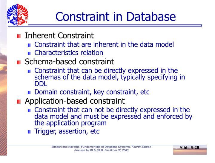 Constraint in Database
