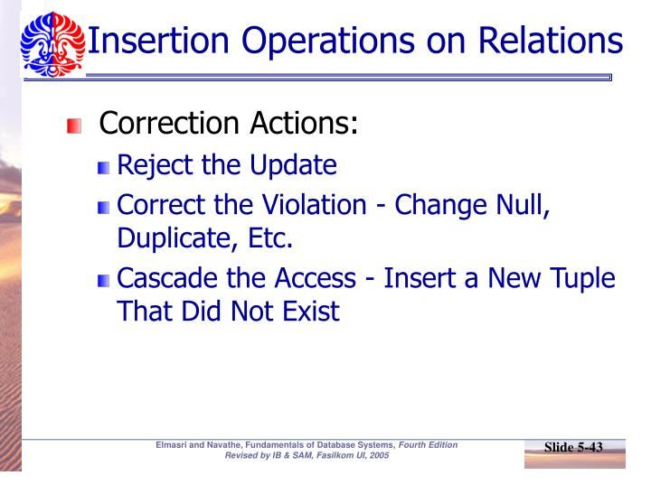 Insertion Operations on Relations
