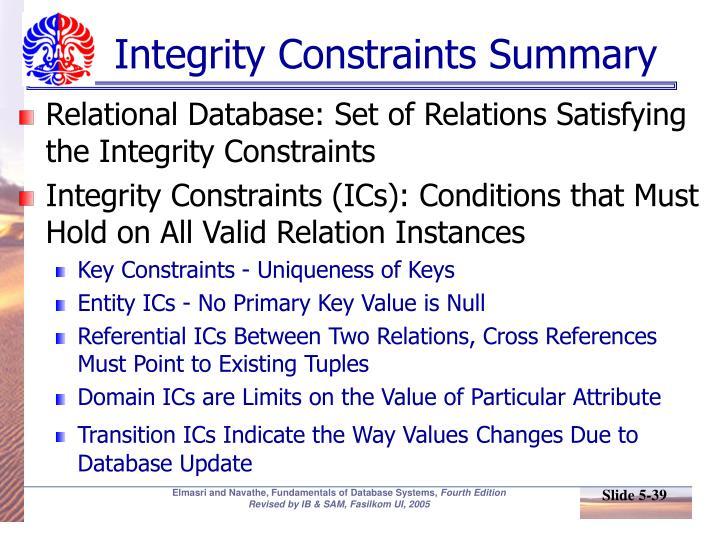 Integrity Constraints Summary