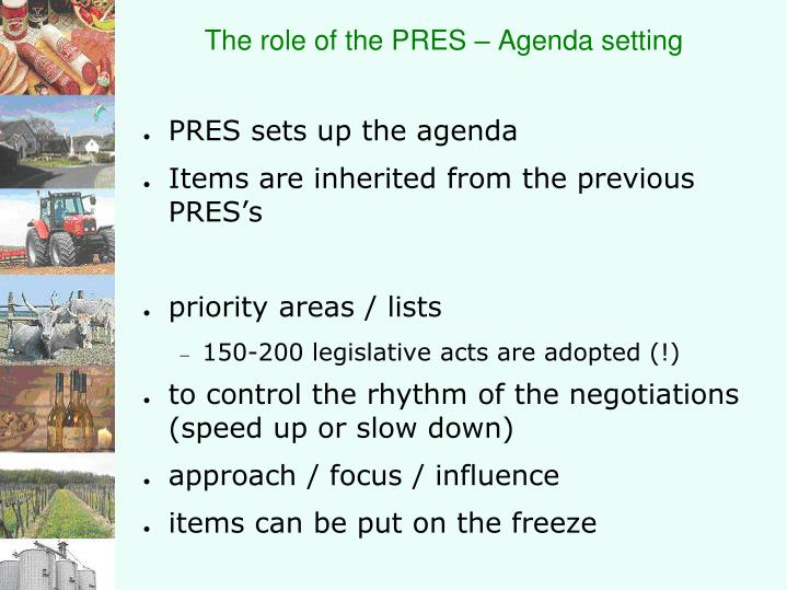 The role of the PRES – Agenda setting