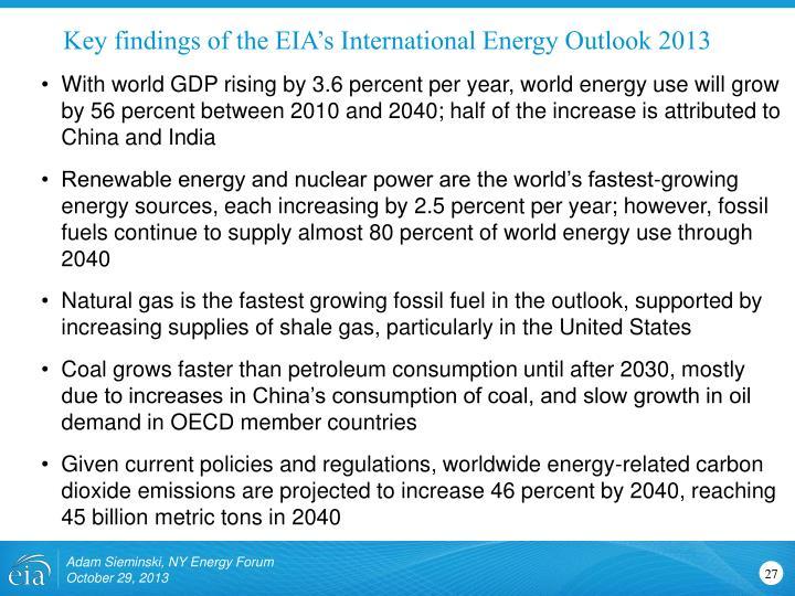 Key findings of the EIA's International Energy Outlook 2013