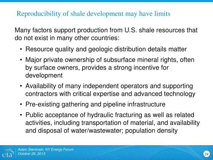 Reproducibility of shale development may have limits