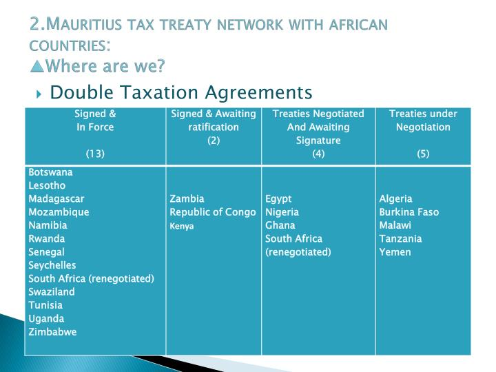 2.Mauritius tax treaty network with