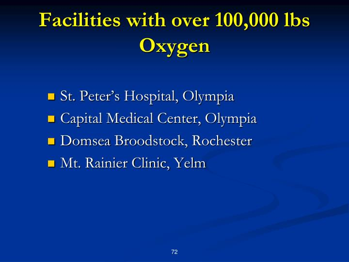 Facilities with over 100,000 lbs Oxygen