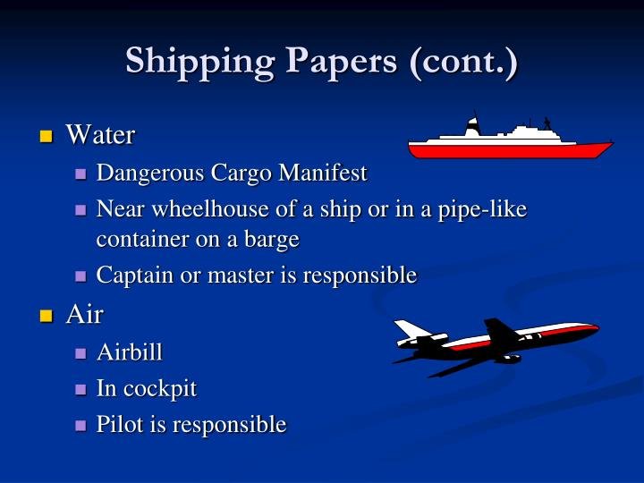 Shipping Papers (cont.)