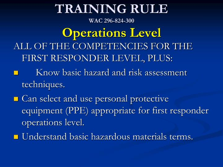 TRAINING RULE