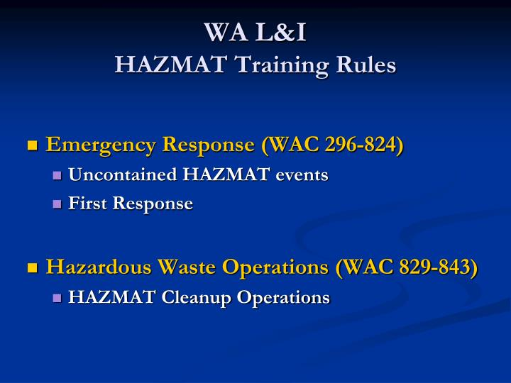 Wa l i hazmat training rules