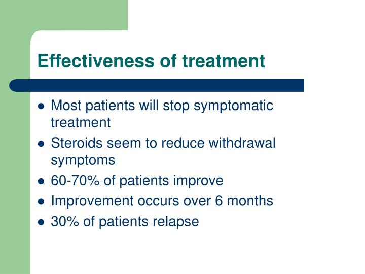 Effectiveness of treatment
