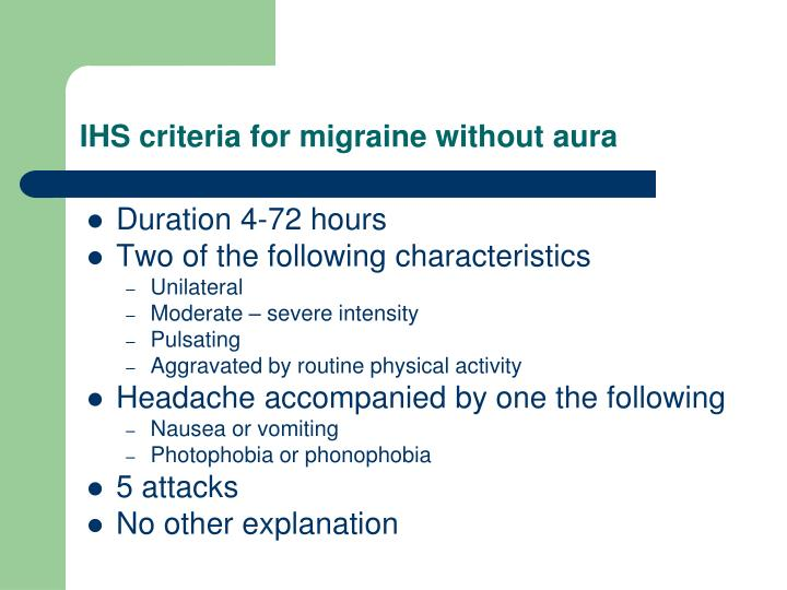 IHS criteria for migraine without aura