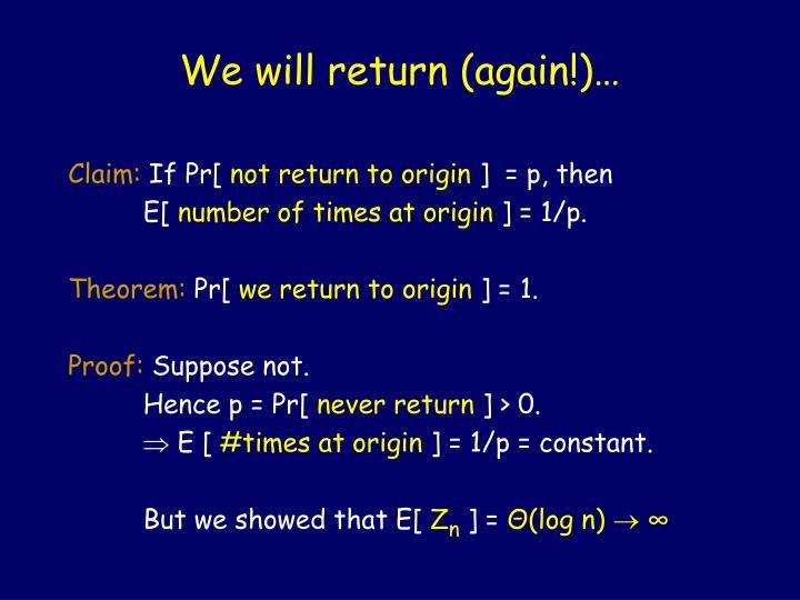 We will return (again!)…