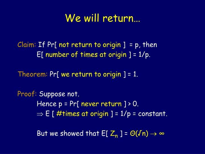 We will return…