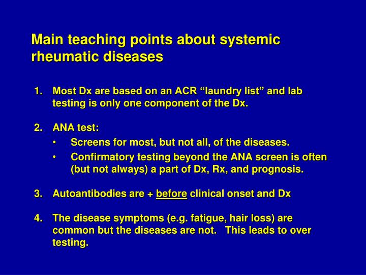 Main teaching points about systemic rheumatic diseases