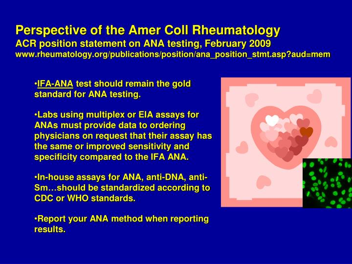 Perspective of the Amer Coll Rheumatology