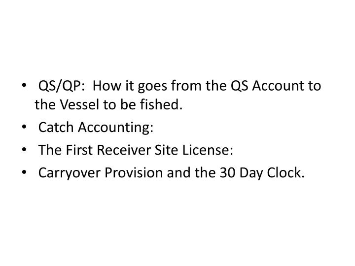QS/QP:  How it goes from the QS Account to the Vessel to be fished.