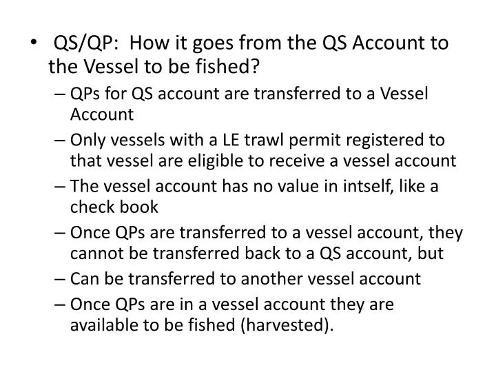 QS/QP:  How it goes from the QS Account to the Vessel to be fished?