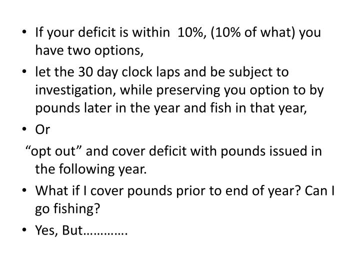 If your deficit is within  10%, (10% of what) you have two options,